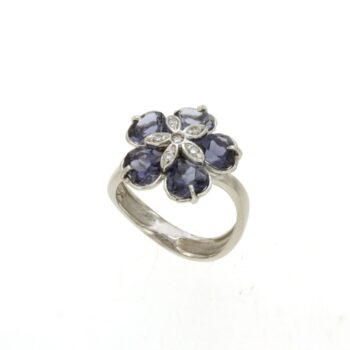 RINGS/AOR/F513F03/1 FLOWER - 5 BLUE IOLITE & BR