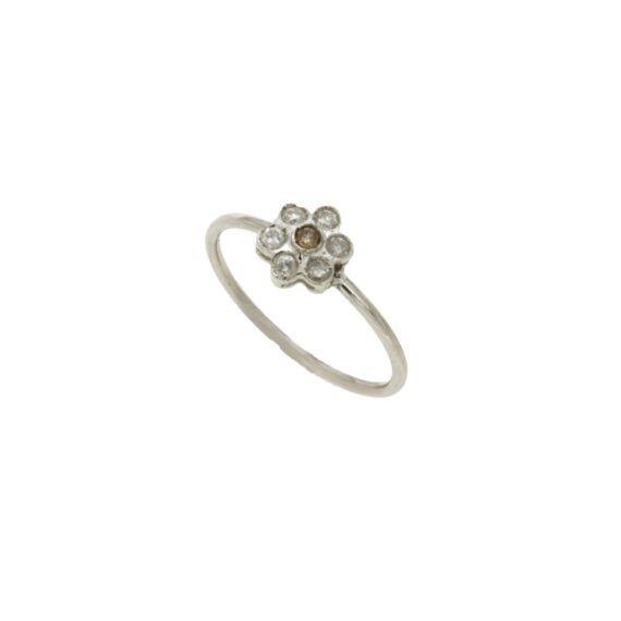 RING/VERAKI SML - FLOWER 1 BROWN BR & 6 WHITE BR