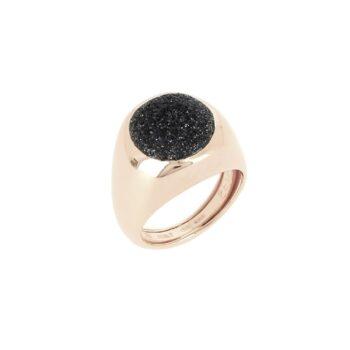 WPLVA1791/M/RING SHINY PINK - OVAL - BLACK DUST