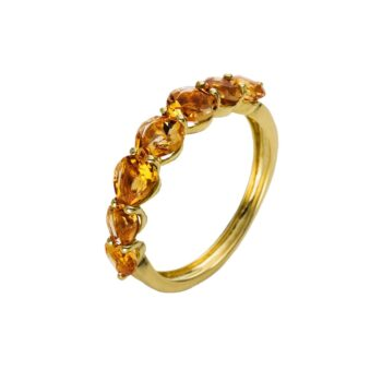 RING/DIAMONDGROUP/11Q678G855-1/7 CITRINE HEARTS