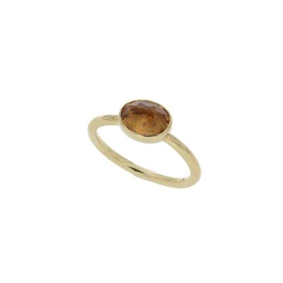 RING/d17/OVAL SMALL/CITRINE MADERA 5*7mm