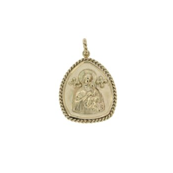 MOTIF/9.81/RELIGION/PEAR SATINE1.8*1.6cm-PLAISIO WIRE-PANAGIA