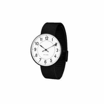 WATCH AJ/STATION/53412-2010/40mm/WHITE DIAL- BLACK BRUSHED CASE/BLACK MESH BAND