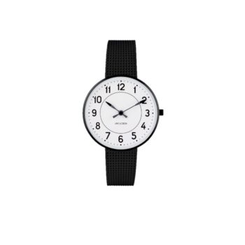 WATCH AJ/STATION/53411-1610/34mm/WHITE DIAL- BLACK BRUSHED CASE/BLACK MESH BAND