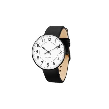 WATCH AJ/STATION/53412-2001B/40mm/WHITE DIAL- BLACK BRUSHED CASE/BLACK LEATHER STRAP