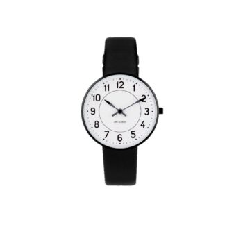 WATCH AJ/STATION/53411-1601B/34mm/WHITE DIAL- BLACK BRUSHED CASE/BLACK LEATHER STRAP