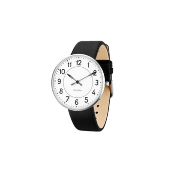 WATCH AJ/STATION/53402-2001/40mm/WHITE DIAL- STAINLESS STEEL CASE/BLACK LEATHER STRAP