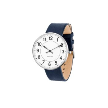 WATCH AJ/STATION/53402-2004/40mm/WHITE DIAL- STAINLESS STEEL CASE/NAVY BLUE LEATHER STRAP