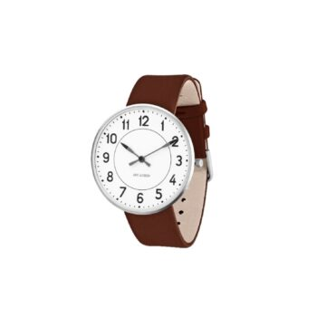 WATCH AJ/STATION/53402-2007/40mm/WHITE DIAL- STAINLESS STEEL CASE/NAVY BROWN LEATHER STRAP