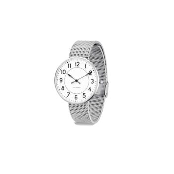 WATCH AJ/STATION/53402-2008/40mm/WHITE DIAL- STAINLESS STEEL CASE/STEEL MESH BAND