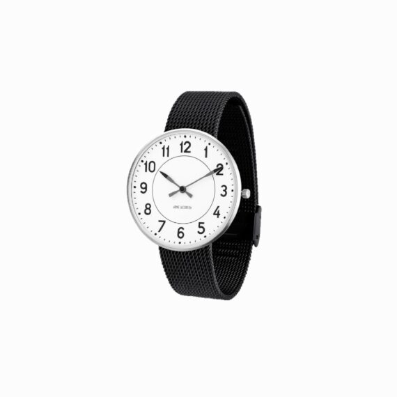 WATCH AJ/STATION/53402-2010/40mm/WHITE DIAL- STAINLESS STEEL CASE/BLACK MESH BAND