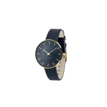 WATCH AJ/OXFORD BLUE-CITY HALL/53207-1604GP/34mm/BLUE DIAL- GOLD STAINLESS STEEL CASE/OXFORD BLUE LEATHER STRAP