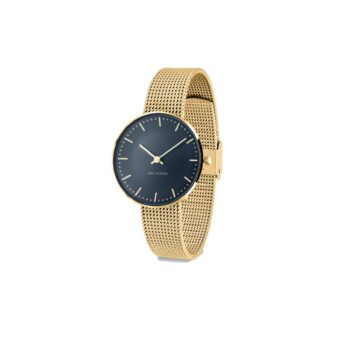 WATCH AJ/OXFORD BLUE-CITY HALL/53207-1609/34mm/BLUE DIAL- GOLD STAINLESS STEEL CASE/MATT GOLD MESH BAND