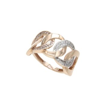 RING/102658/5pre.2143rr/GOURMET CHAIN 5 LINKS-WHIE CZ