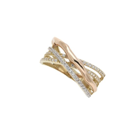 RING/104086/5div6618r/LINES YELLOLW-WHITE & RED WITH CZ