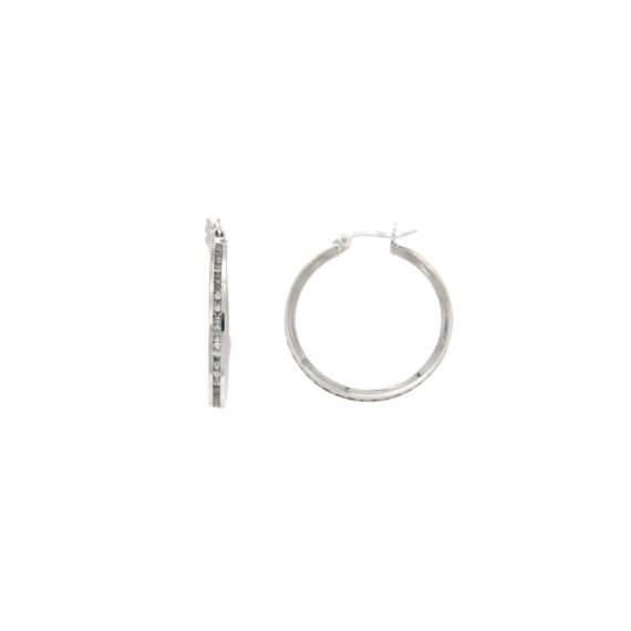 EARRINGS/117961/5fm.01.3317bor/LINK ROUND 2cm-WHITE CZ