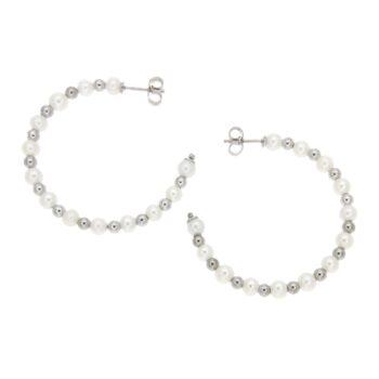 EARRINGS COSCIA/GEA293/ KRIKOI 3cm ROUND/13+13 WHITE PRL 4mm