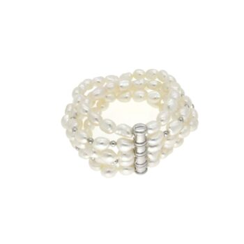 BRACELET/COSCIA/GBR280.6-SILICONE WITH 5 LINES WHITE FW PEARL 8mm/18.5cm