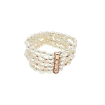 BRACELET/COSCIA/GBR280.7-SILICONE WITH 5 LINES WHITE FW PEARL 8mm/18.5cm