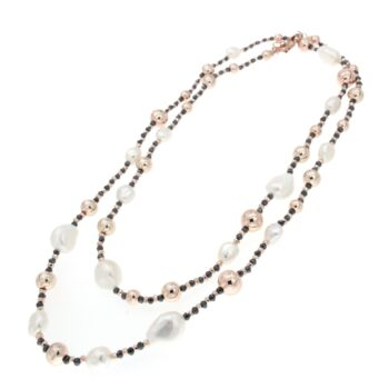 NECKALCE/COSCIA/GNK2382.3 WITH CLIP WHITE FW PEARL 8mm & 15mm - HEMATITE & BEADS 10mm-8mm-6mm/90cm