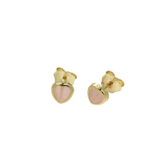 EARRING/PAPPAS/Π502/SMALL HEART-PINK MOONSTONE