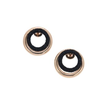 WPLVO1608/EARRINGS DOUBLE/BACK ROUND PINK LINK-FRONT BLACK DUST