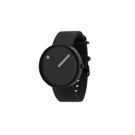 """WATCH PICTO/""""OCEAN GHOST""""/R44004-R006/40mm/BLACK DIAL- BLACK CASE/RECYCLED MANTA RAY BLACK STRAP"""
