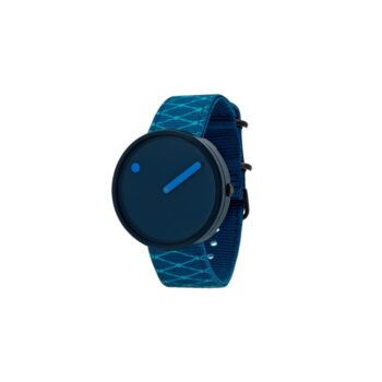 """WATCH PICTO/""""OCEAN GHOST""""/R44001-R002/40mm/NAVY BLUE DIAL- NAVY BLUE CASE/ RECYCLED DEEP BLUE STRAP WITH PRINT LINES"""