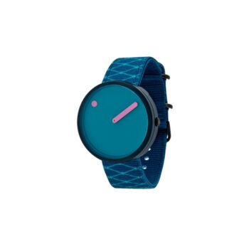 """WATCH PICTO/""""OCEAN GHOST""""/R44006-R002/40mm/LAGOON BLUE DIAL- NAVY BLUE CASE/ RECYCLED DEEP BLUE STRAPWITH PRINT LINES"""