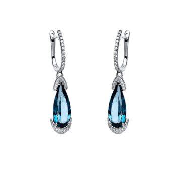 EARRING/DIAMONDGROUP/2J579W4-1/PEAR LONDON BLUE TOPAZ & BR