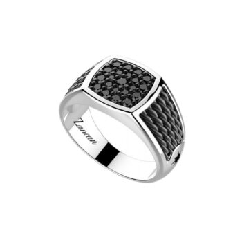 RING ZANCAN/EXA165/SILVER RING WITH 21 SMALL BLACK STONES