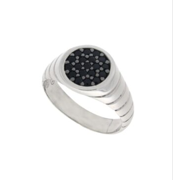 RING ZANCAN/EXA174/SILVER RING ROUND-GAMPA RIGE- WITH 19 SMALL BLACK STONES