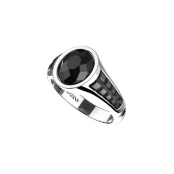RING ZANCAN/EXA214/SILVER RING WITH OVAL ONYX