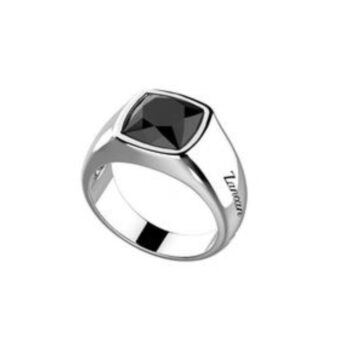 RING ZANCAN/ESA006/SILVER RING WITH SQUARE ONYX