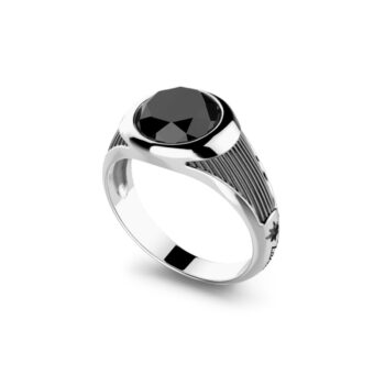 RING ZANCAN/EXA217/SILVER RING WITH ROUND ONYX