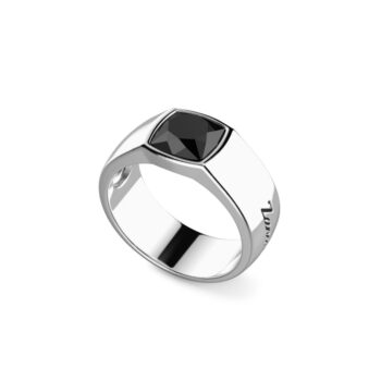 RING ZANCAN/ESA004/SILVER RING WITH SQUARE ONYX