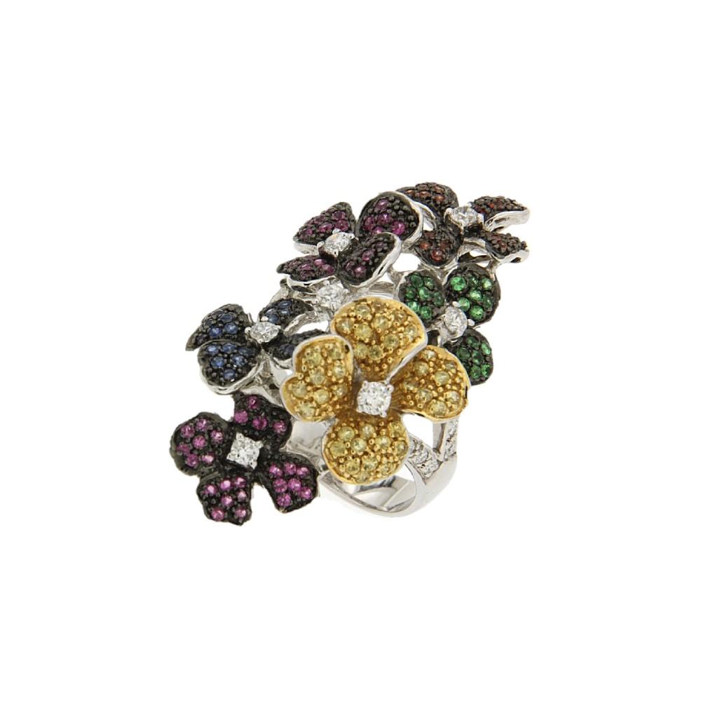 Δαχτυλίδι Color Stone Jewellery με χρυσό Κ18 και πολύτιμες πέτρες